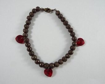 Swarovski Red Crystal Hearts Bracelet