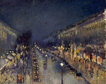 """The Boulevard Montmartre At Night by Camille Pissarro, 8.25""""x10"""", Giclee Canvas Print"""