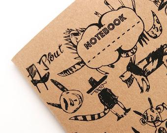 Notebook Screenprinted, drawing book, Notebook, travel notebook, A5