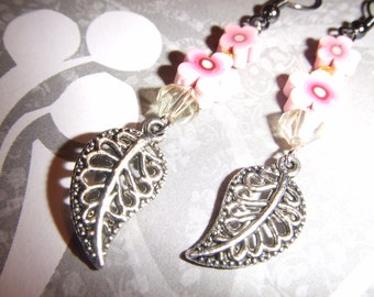 Pink & Yellow Antiqued Silver Floral Earrings