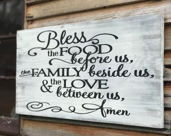 Bless The Food Before Us Sign / Inspirational Wall Art / Wood Sign / Kitchen Decor / Christian Wall Art / Mothers Day Gift