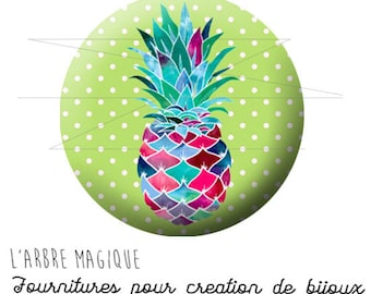 2 cabochons glue pineapple fruit exotic ref 1739 - 18 mm