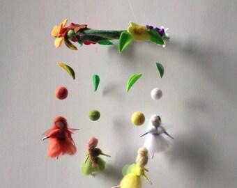 Four season fairies needle felted waldorf mobile small fairies