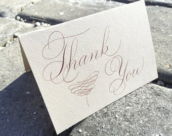 Hand made rose gold thank you cards. Rose gold wedding thank you cards. Vintage thank you cards. Custom wedding thank you cards. Copperplate