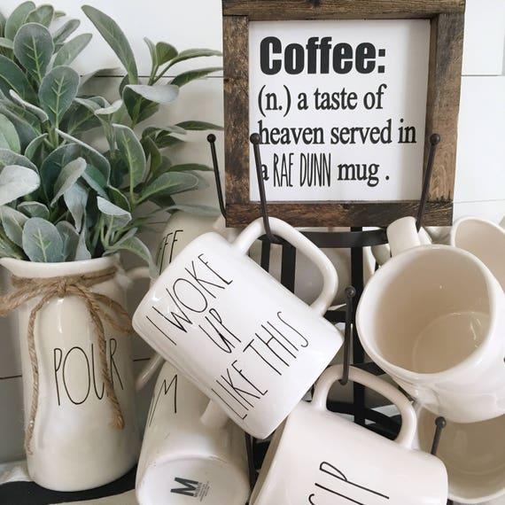 ORIGINAL Rae Dunn inspired coffee sign | Kitchen Decor, Mug Sign, Farmhouse Style Decor, Handwritten Font, Wood Sign, Rustic Decor