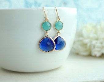 Cobalt Blue Earrings. Blue and Mint Glass Gold Framed French Dangle Earring. Wedding Bridal Jewelry, Mint and Blue Wedding. Bridesmaids Gift