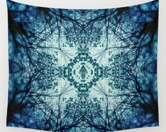 Wall Taspestry- abstract design- blue- mandala- abstract art- wall hanging- modern home decor- wall art