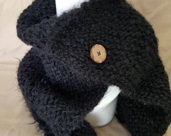 Fuzzy, Black Cowl with Brown Button