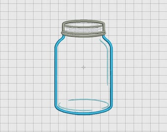 Mason Jar 2 Layer Applique Embroidery Design in 4x4 5x5 and 6x6 Sizes