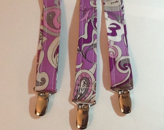 Purple and Grey Paisley Suspenders Men's Suspenders Adjustable Lavender Paisley - Wedding Suspenders - Suspenders for Wedding
