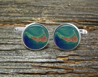 Nantucket Island Aerial View Cufflinks-Wedding-cufflink Jewelry Box-Silver-Free shipping-Man gift-Groomsmen-Vacation-Beaches-Sailing-Beach