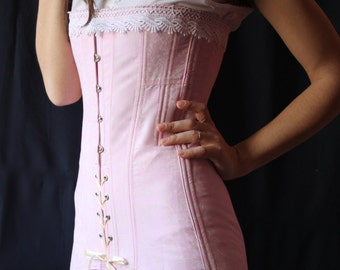 One-Layer Pink Titanic Era Corset, Edwardian Clothing