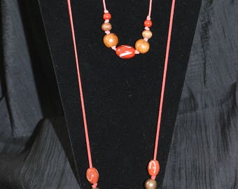 Red Suede Necklace and Bracelet Set