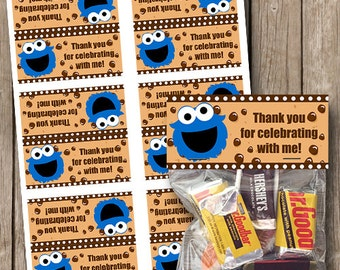 Cookie Monster Small Bag Toppers Birthday Party Favors INSTANT Download Digital File