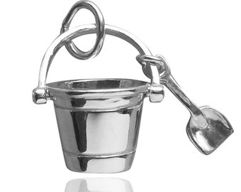 Bucket and Spade Sterling Silver Bracelet Charm Solid .925 Beach Sand Pail and Shovel Holiday Vacation Seaside