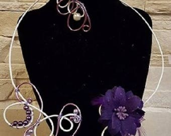 set with flower fabric and Pearl White and purple aluminum wire