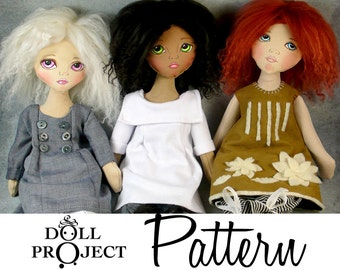 NEW Little Cloth Girls PDF Pattern and Tutorial Instant Download How to Sew a Cloth Doll with Button Joints