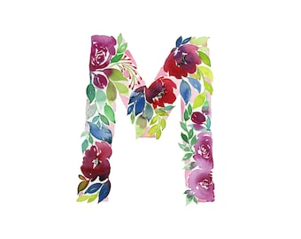Watercolor alphabet, Letter M print, Initial M, Watercolor Monogram, Nursery Decor, Watercolor letter, First Initial Art Print, Floral 8x10