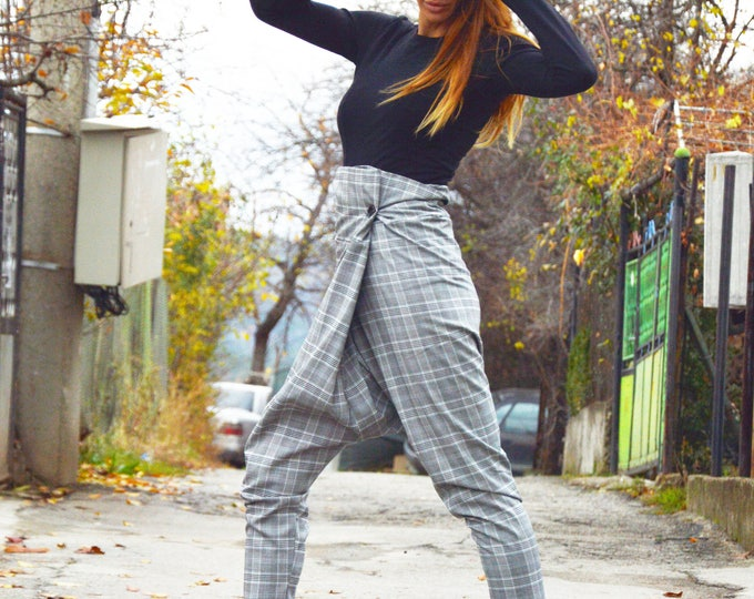 Womens Pants, Extravagant Grey Plaid Pants, Elegant Drop Crotch Pants, Maxi Trousers, Loose High Waist Pants by SSDfashion