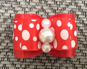 Red and White  polka dot Dog bow