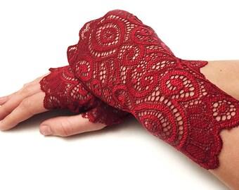 Bridal Gloves, Wedding Gloves. Burgundy Lace Gloves. Red Lace Gloves. Stretch Lace Fingerless Lace Glove. Valentine's Day Gifts.
