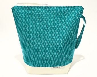 HONEYCOMB MINT, 4 Skein Size, Cotton Drill Base Front & Back, White Zip, Natural Cotton Lined, Knitting Project Bag for Knitting and Crochet