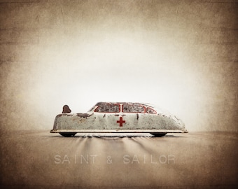 Vintage Classic Argo Tin Ambulance, One Photo Print, Boys Room decor, Vintage Car Prints