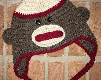 Sock Monkey Hat with Ear Flaps
