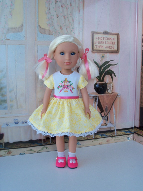 Fits GLITTER GIRLS, WELLIE WiSHER Doll Clothes /Embroidered  Dress and  Shoes / 14 Inch Dolls Clothes