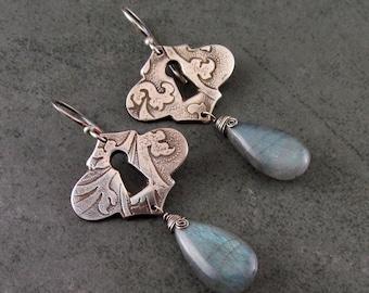 Silver keyhole earrings w/ labradorite gemstones, handmade recycled fine silver lock earrings-OOAK
