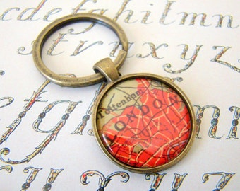 London Keychain, 25mm Round Keyring, Antiqued Brass Key Chain, Made with Love, Comes in a Cool Gift Box