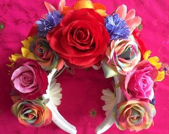 Rainbow Rose Festival Flower Crown