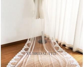 Cathedral Wedding Veil, Lace at Hip, Lace Wedding Veil, Elegant Partial Lace Veil, Edwardian Bridal Veil, Mi Bridal Veil
