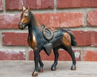 "Vintage Cast Metal Horse figurine 7"" Equestrian Decor"