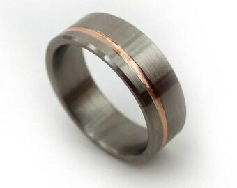 Semi Matte Titanium And 18k Rose Gold, Titanium Rings, Rose Gold Ring, Men's Wedding Ring, Women's Wedding Ring, Handmade, Wedding Ring