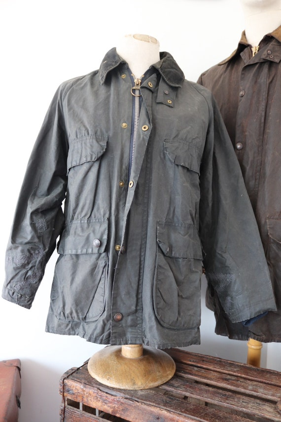 "Vintage navy blue Barbour Bedale waxed cotton jacket 44"" chest made in England walking camping repaired darned"