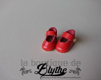 Red leather shoes for Blythe doll-red leather shoes for Blythe