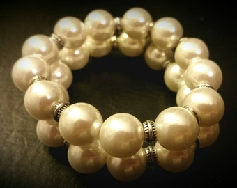 After Life Accessories Repurposed Silver Accents & Pearls Stretch Double Bracelet