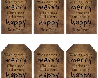grungy tag set - christmas & new year - digital PDF and jpeg - CNYGT01