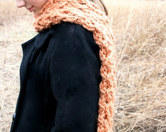 Chunky lace harvest brown hand knit wool scarf
