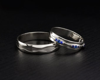 Wave wedding bands, His and Hers wedding rings, Couple silver rings, Sterling silver wedding rings, Wedding ring set, Wave promise rings