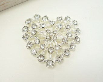 Rhinestone Button Crystal Heart Shape (45mm, 1pc)