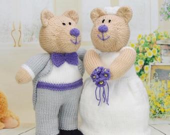 KNITTING PATTERN - Bearly Wed The Wedding Bears Knitting Pattern Download from Knitting by Post