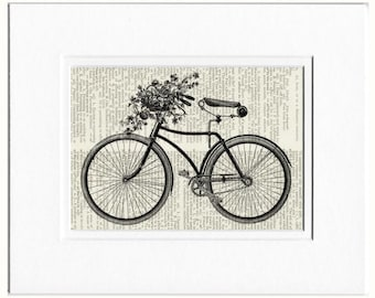 bike with flowers book page print
