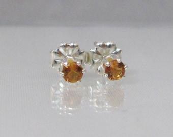 Tiny Citrine Stud Earrings, 3mm Citrine, Sterling Silver, Golden Citrine, Post Earrings, Petite Gemstone Earrings, November Birthstone