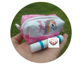 Mini boxed lip balm pouch ~magical unicorn~ (5x7) machine embroidery Instant digital download