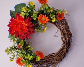 Front Door Wreaths, Wreath for Front Door, Dahlia Daisy Wreath, Red Wreath, Summer Wreath, Fall Wreath, Mothers Day, Ready to Ship