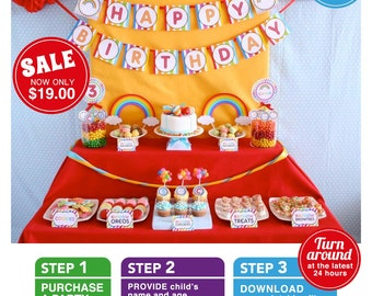 Rainbow Birthday Party Package Personalized FULL Collection Set  - PRINTABLE DIY - PS808CA1x