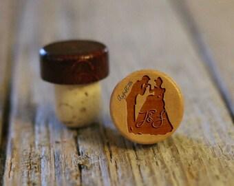 BEST PRICE ** Lot of Personalized Custom Wine Stopper Laser Engraved Cork Bottle Topper Reusable Rustic Wedding Favor --WS-L-Princess
