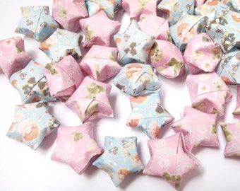 80 Origami Lucky Stars - pastel blue & pink (custom orders available)